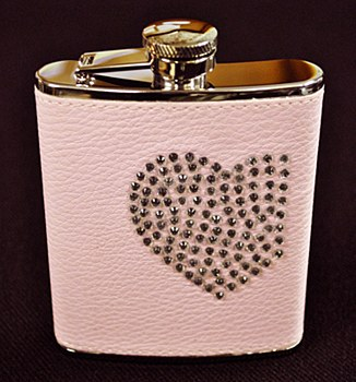 6oz Stainless Steel Flask Pink with Crystal Heart