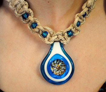 Blue Glass Pendant with Frit Bead on a Hemp Necklace