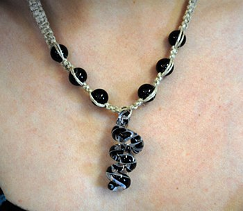 Black Spiral Glass Pendant on Hemp Necklace