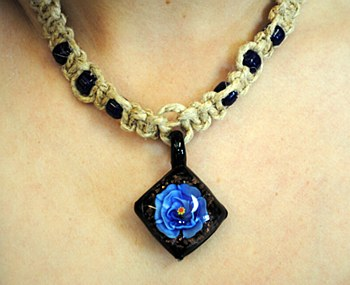 Blue Flower Glass Pendant on a Hemp Necklace