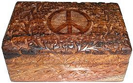 Peace with Flowers Carved Box