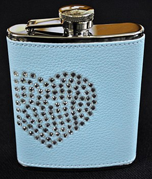 6oz Stainless Steel Flask Blue with Crystal Heart