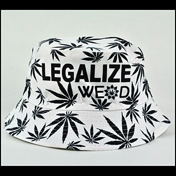 Hemp Leaf Bucket Hat White