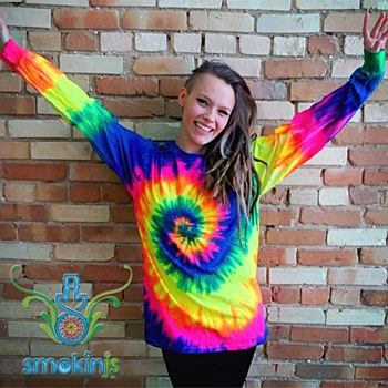 Tie Dye Long Sleeve Neon Spiral Large