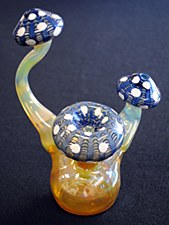 "9"" Tall Hand Blown Glass Mushroom Bubbler"