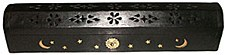 Black Wood Coffin Incense Burner