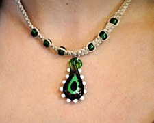 Abstract Green Glass Pendant on a Hemp Necklace