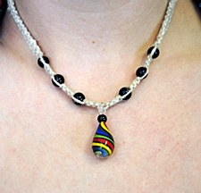 Natural Hemp Necklace with Rainbow Twist Pendant