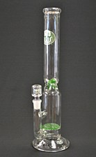Green Griddle Diffused Natural Perc Thick Glass Water Pipe