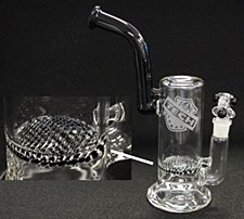 Hand Blown Glass Griddle Natural Percolating Water Pipe