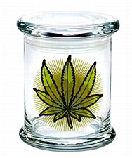 420 Science Pop Top Large Jar Green Leaf
