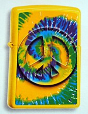 Tie-Dye Peace Sign Lemon Zippo Lighter