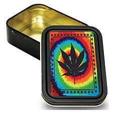 Bug Box Sealed Tie Dye Hemp Leaf Stash Tin