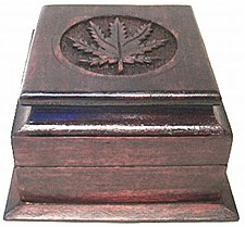 Wood Box with Pot Leaf Carving