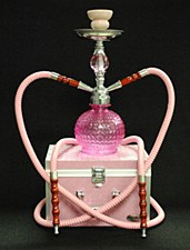 2 Hose Crystal Ball Hookah Red