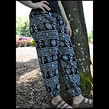 Cotton Om Print Trouser Black