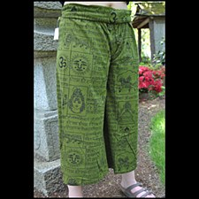 Cotton Knit Print Pant Green