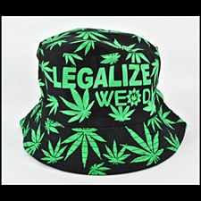 Hemp Leaf Bucket Hat Black