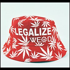 Hemp Leaf Bucket Hat Red