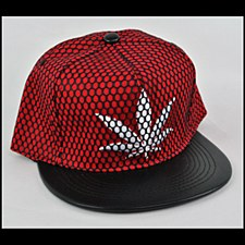 Mesh Hemp Leaf Hat Red