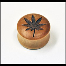 Hemp Leaf Wood Plug 8mm
