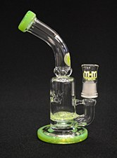 "7"" Tall Slime Green Lattice Perc Oil Rig Bubbler"