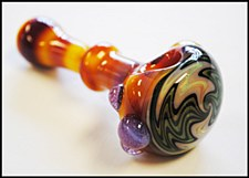 "5"" Long Exotic Serendipity Color Hand Pipe with Wig Wag"