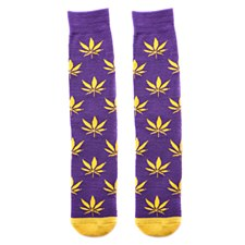 Purple and Gold Pot Leaf Socks