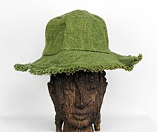 Green Hemp Hat with Brim