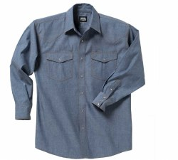 Men's Pre-Washed Long-Sleeve Chambray Western Shirt
