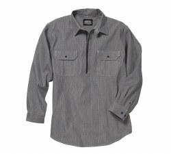 Men's long-Sleeve Zip Front Hickory Stripe Logger Shirt