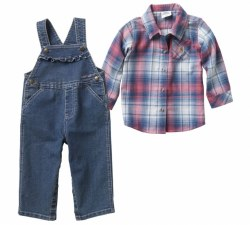 Girl's Denim Overall Set