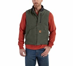 Men's Sandstone Mock-Neck Vest/Sherpa Lined