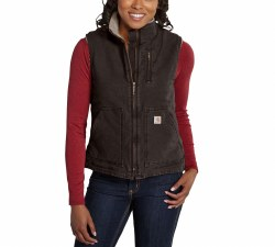 Women's Sandstone Mock-Neck Vest/Sherpa Lined