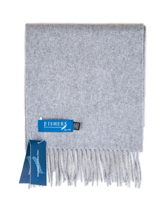 Fishers Wool Cashmere Scarf Grey