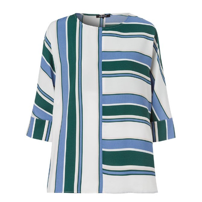 Olsen Stripe Blouse 10 Moss Green