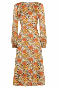 Traffic People Floral Midi Dress S Beige