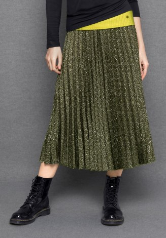 Bianca Belea Print Pleat Skirt 18 Green