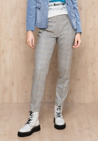 Bianca Check Trousers 10 Light Grey
