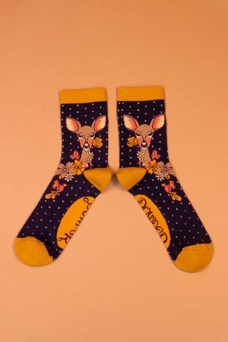 Powder Ankle Socks - Floral Deer