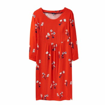 Joules Alison Print Dress 14 Red Floral