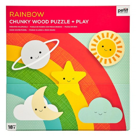 Petit Collage Rainbow Chunky Wood Puzzle & Play