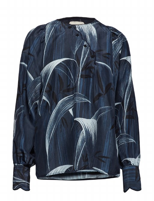 Noa Noa Silk Blouse 12 Grey Blue