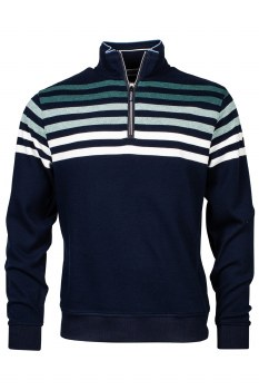 Baileys Shaded Striped Quarter Zip Sweatshirt M Navy
