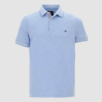 Baileys Melange Poloshirt With Floral Trim L Sky Blue