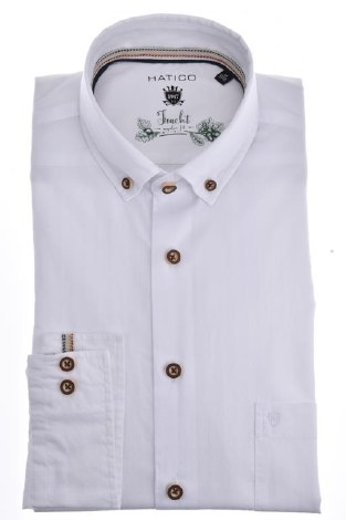 Hatico Oxford Shirt With Contrast Details M White