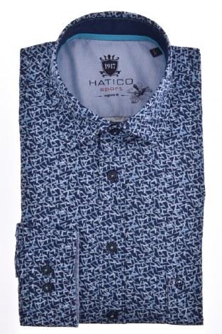 Hatico Print Shirt M Navy