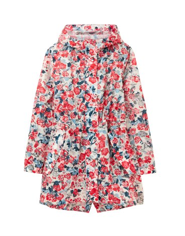 Joules Golightly Packaway Raincoat 14 Cream Floral