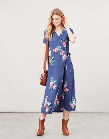 Joules Callie Wrap Dress 10 Floral Blue