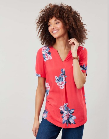 Joules Leona Floral Blouse 14 Red